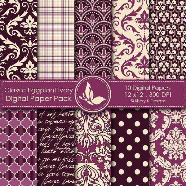 Classic Eggplant and Ivory  Shery K Designs    Mygrafico