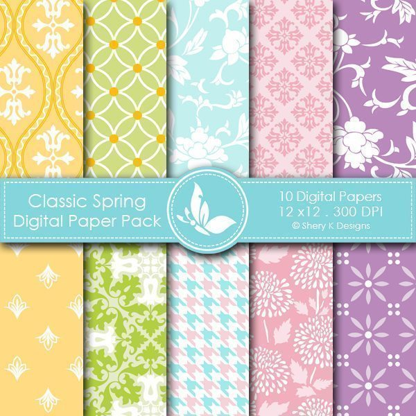 Classic Spring - 10 Digital papers  Shery K Designs    Mygrafico