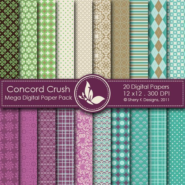 Concord Crush - 20 Digital papers  Shery K Designs    Mygrafico