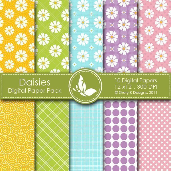 Daisies - 10 Digital papers  Shery K Designs    Mygrafico