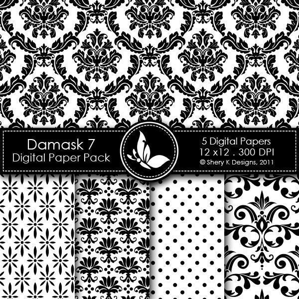 Damask 7 - 5 Digital papers  Shery K Designs    Mygrafico