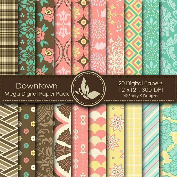 Downtown - 20 Digital papers  Shery K Designs    Mygrafico
