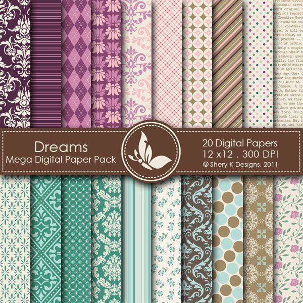 Dreams - 20 Digital papers  Shery K Designs    Mygrafico