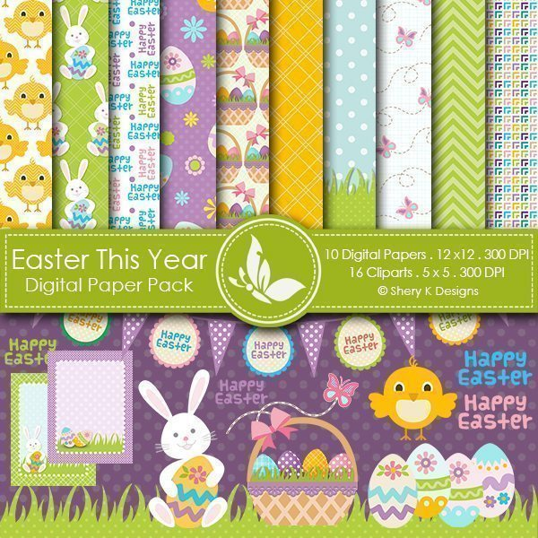 Easter This Year Clipart and Digital Paper  Shery K Designs    Mygrafico