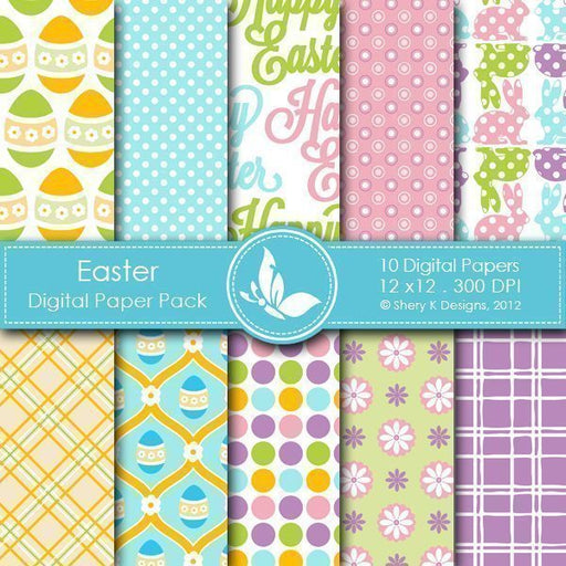Easter - 10 Digital Papers  Shery K Designs    Mygrafico