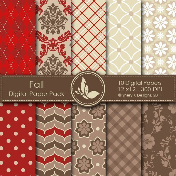 Fall - 10 Digital papers  Shery K Designs    Mygrafico