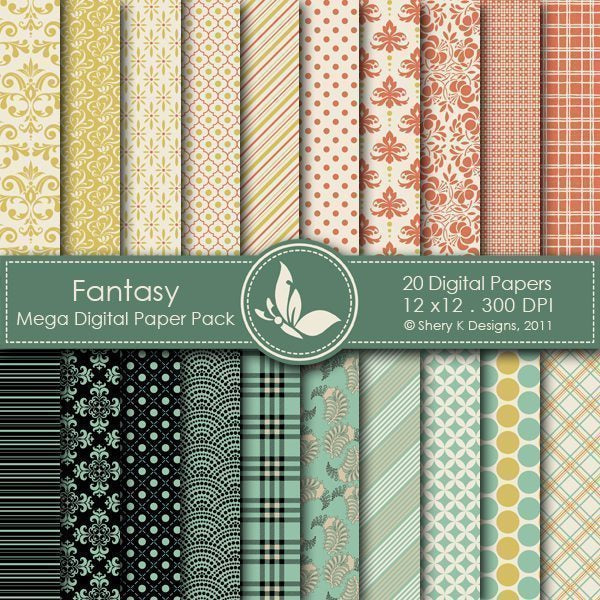 Fantasy - 20 Digital papers  Shery K Designs    Mygrafico
