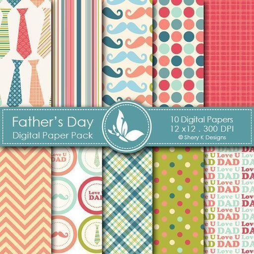 Father's Day - 10 Digital papers  Shery K Designs    Mygrafico