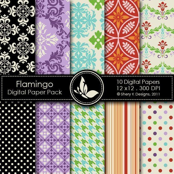 Flamingo - 10 Digital papers  Shery K Designs    Mygrafico