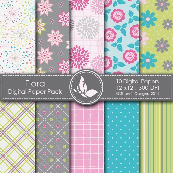 Flora - 10 Digital papers  Shery K Designs    Mygrafico