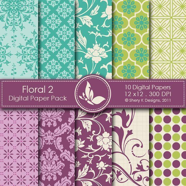 Floral 2 - 10 Digital papers  Shery K Designs    Mygrafico