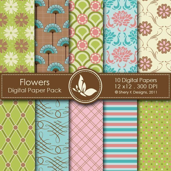 Flowers - 10 Digital papers  Shery K Designs    Mygrafico