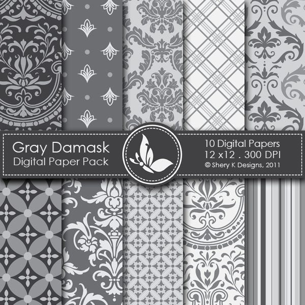 Gray Damask - 10 Digital papers  Shery K Designs    Mygrafico