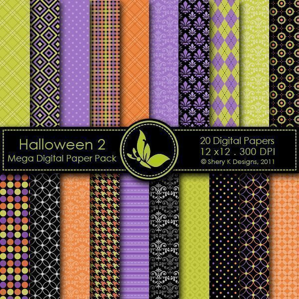 Halloween 2 - 20 Digital papers  Shery K Designs    Mygrafico