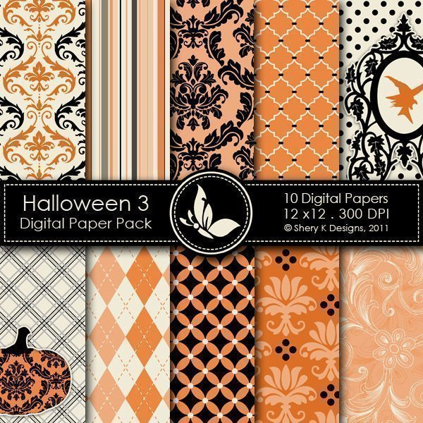 Halloween 3 - 10 Digital papers  Shery K Designs    Mygrafico