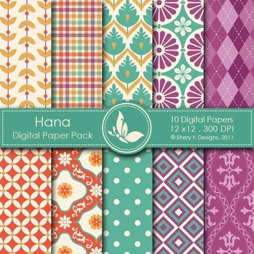 Hana - 10 Digital papers  Shery K Designs    Mygrafico
