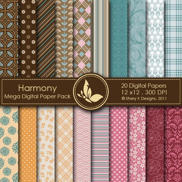 Harmony - 20 Digital papers  Shery K Designs    Mygrafico