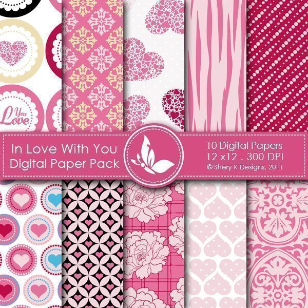 In Love With You - 10 Digital papers  Shery K Designs    Mygrafico