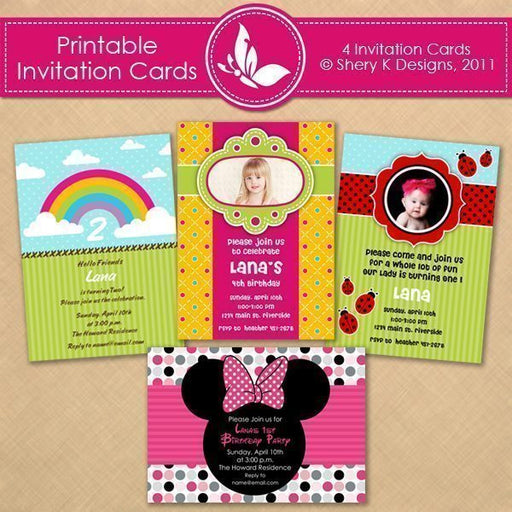 Printable Girl Invitation Cards  Shery K Designs    Mygrafico