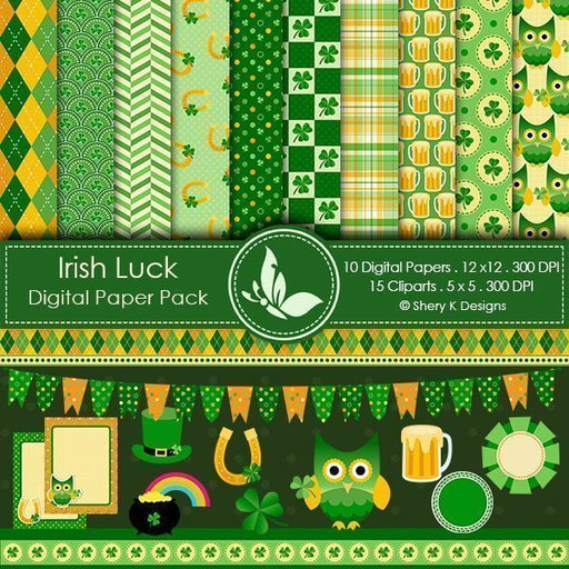 Irish Luck St. Patrick's Day Digital Papers  Shery K Designs    Mygrafico
