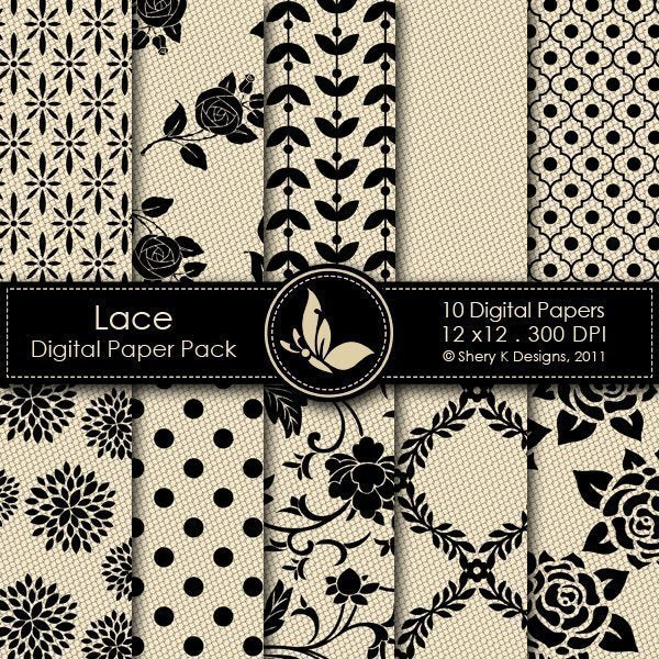Lace - 10 Digital Papers  Shery K Designs    Mygrafico