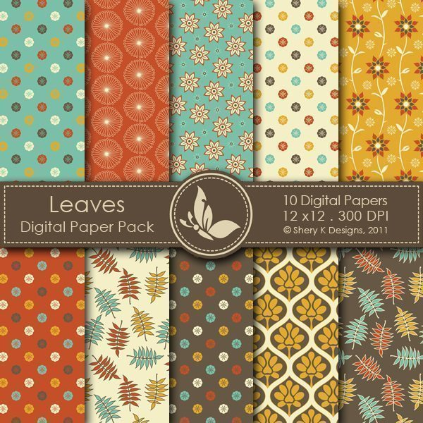 Leaves - 10 Digital papers  Shery K Designs    Mygrafico