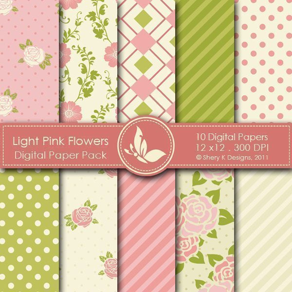 Light Pink Flowers - 10 Digital Papers  Shery K Designs    Mygrafico