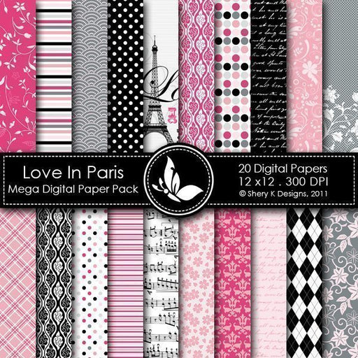 Love In Paris - 20 Digital papers  Shery K Designs    Mygrafico