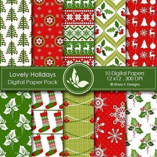 Lovely Holidays Digital Papers  Shery K Designs    Mygrafico