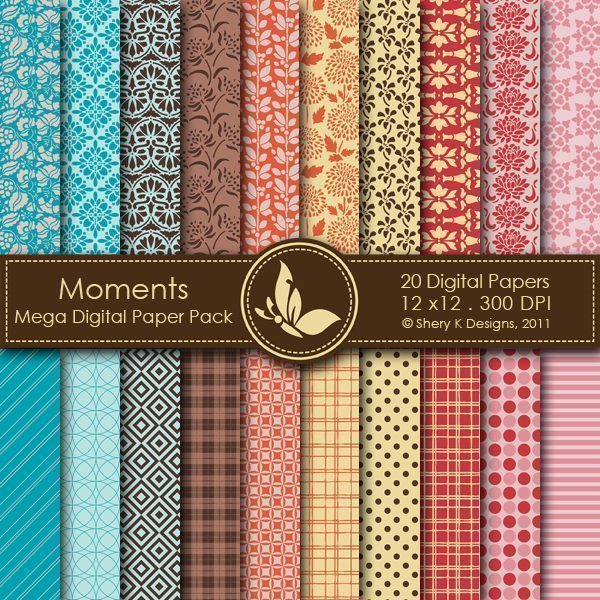 Moments - 20 Digital papers  Shery K Designs    Mygrafico