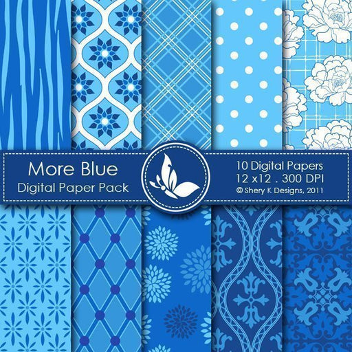 More Blue - 10 Digital papers  Shery K Designs    Mygrafico
