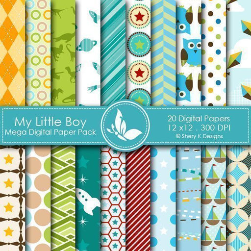 My Little Boy - 20 Digital papers  Shery K Designs    Mygrafico