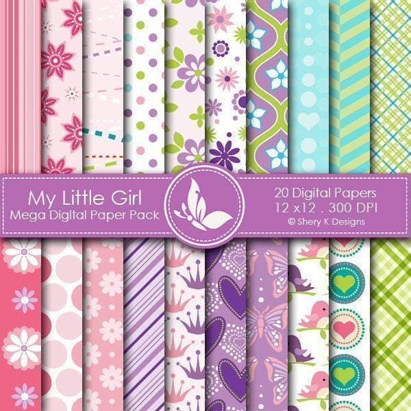 My Little Girl - 20 Digital papers  Shery K Designs    Mygrafico