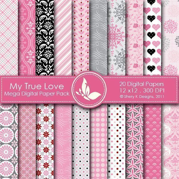 My True Love - 20 Digital papers  Shery K Designs    Mygrafico