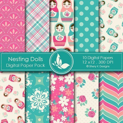 Nesting Dolls - 10 Digital papers  Shery K Designs    Mygrafico