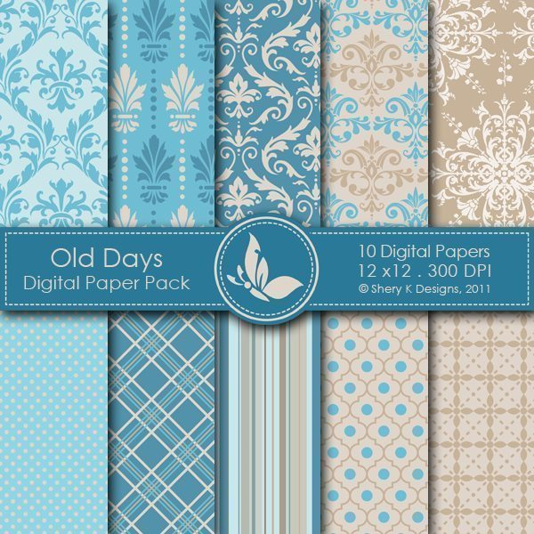 Old Days - 10 Digital papers  Shery K Designs    Mygrafico