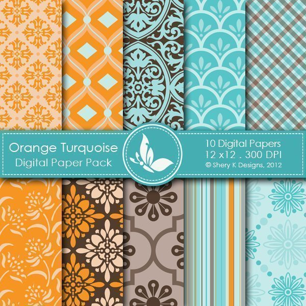 Orange Turquoise- 10 Digital papers  Shery K Designs    Mygrafico