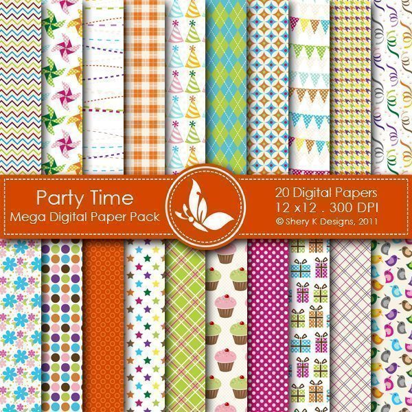 Party Time - 20 Digital papers  Shery K Designs    Mygrafico