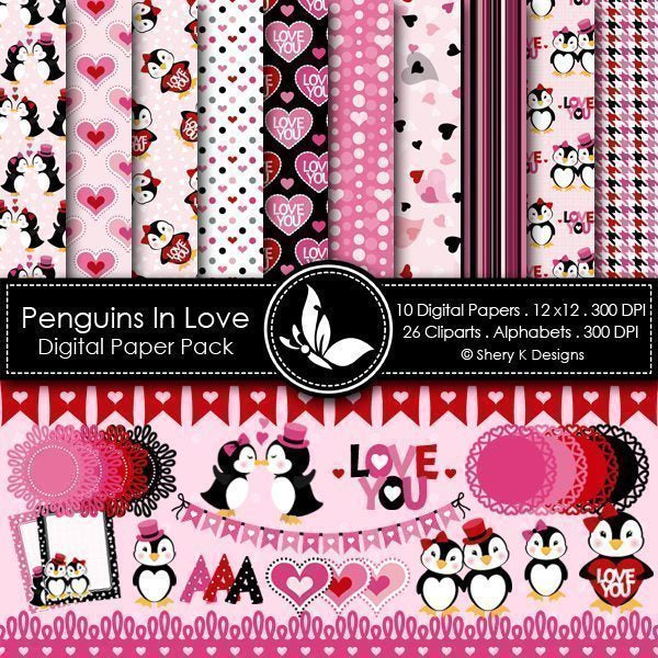 Penguins In Love Valentine Clipart and Paper  Shery K Designs    Mygrafico