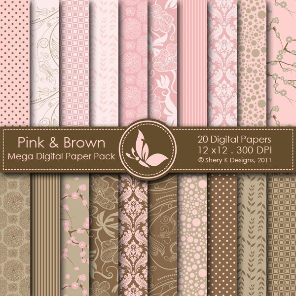 Pink & Brown - 20 Digital papers  Shery K Designs    Mygrafico