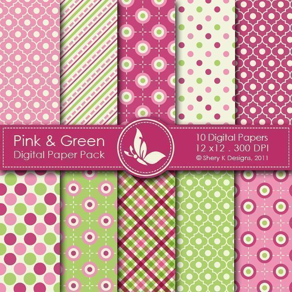 Pink & Green  - 10 Digital papers  Shery K Designs    Mygrafico