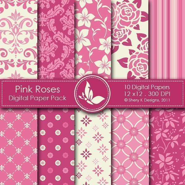 Pink Roses - 10 Digital papers  Shery K Designs    Mygrafico
