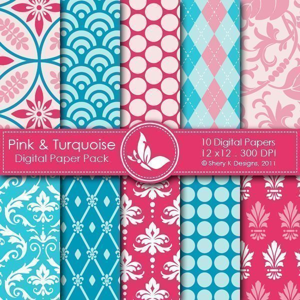 Pink & Turquois - 10 Digital Papers  Shery K Designs    Mygrafico