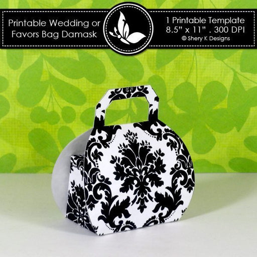 Printable wedding or party favors Bag Damask  Shery K Designs    Mygrafico
