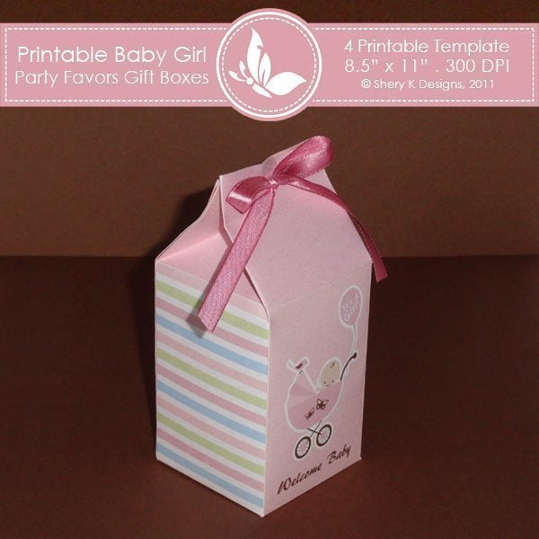 Printable Baby Girl party favors gift box 2  Shery K Designs    Mygrafico