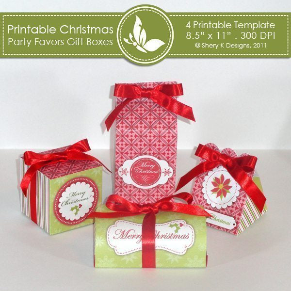 Printable Christmas party favors gift boxes  Shery K Designs    Mygrafico