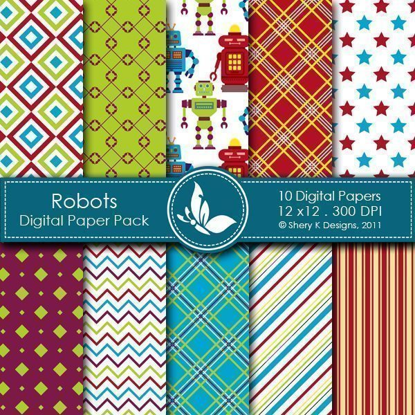 Robots - 10 Digital papers  Shery K Designs    Mygrafico