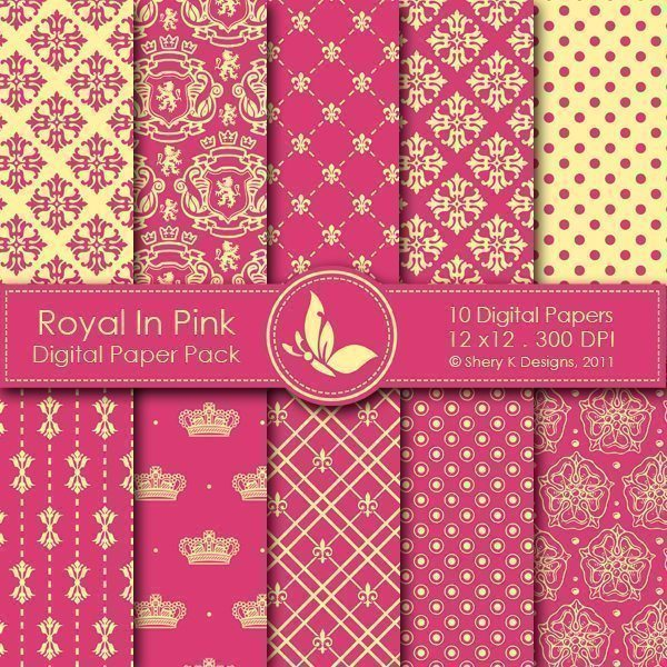 Royal In Pink - 10 Digital papers  Shery K Designs    Mygrafico