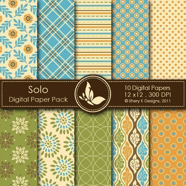 Solo - 10 Digital papers  Shery K Designs    Mygrafico