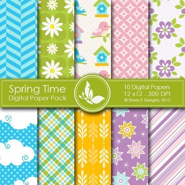 Spring Time - 10 Digital papers  Shery K Designs    Mygrafico